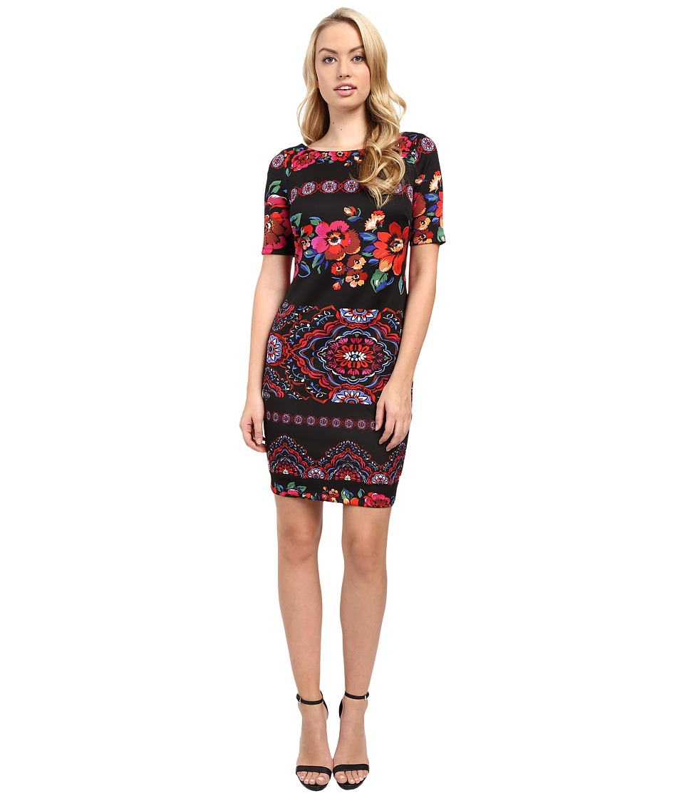 Sangria - Short Sleeve Dark Floral Print Scuba Sheath (Black/Multi) Women's Dress