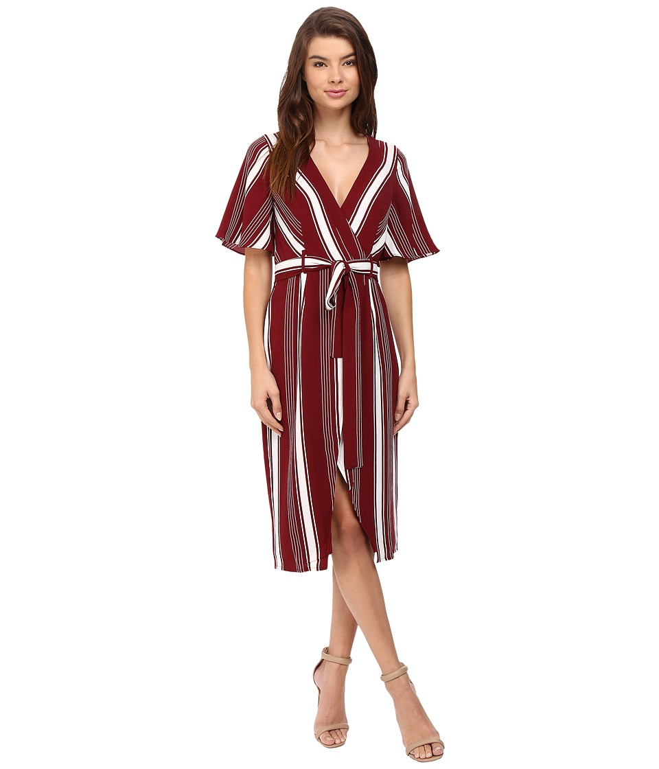 Lovers + Friends - Fremont Wrap Dress (Cranberry Stripe) Women's Dress