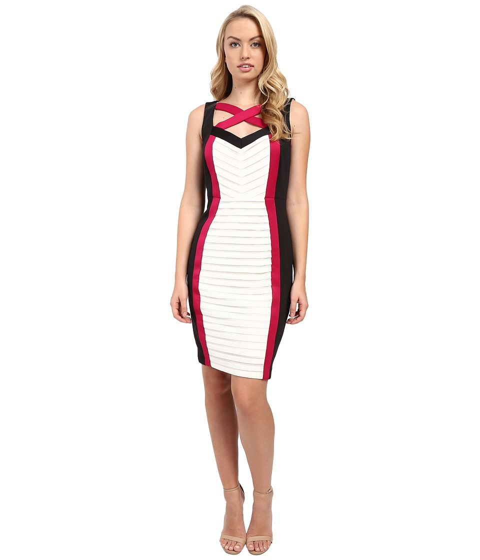 Sangria - Tri Colored Shutter Pleat Cut Out Neck Sheath (Multi) Women's Dress