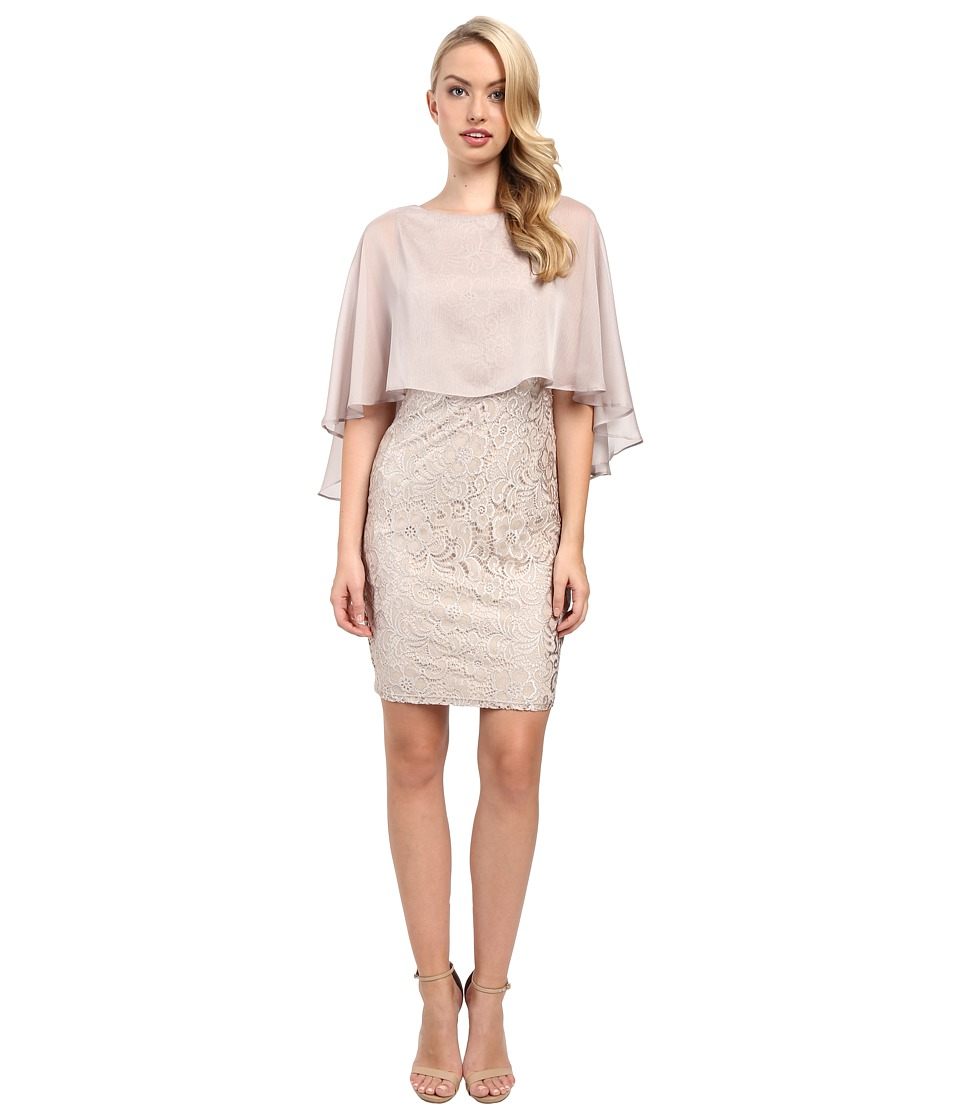 Sangria - Lace Sheath with Attached Chiffon Capelet (Stone) Women's Dress