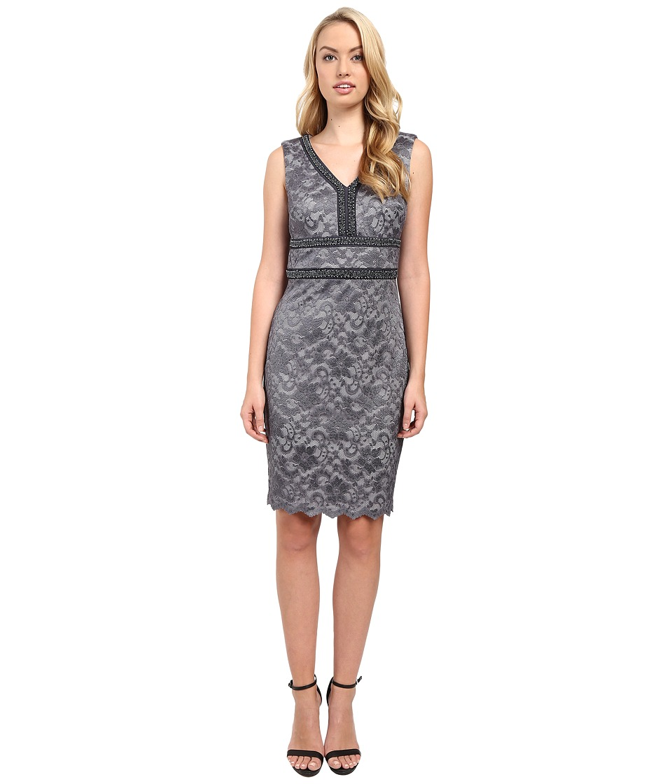 Sangria - V-Neck Midi Length Lace Sheath with Embellished Neck and Waist (Graphite) Women's Dress
