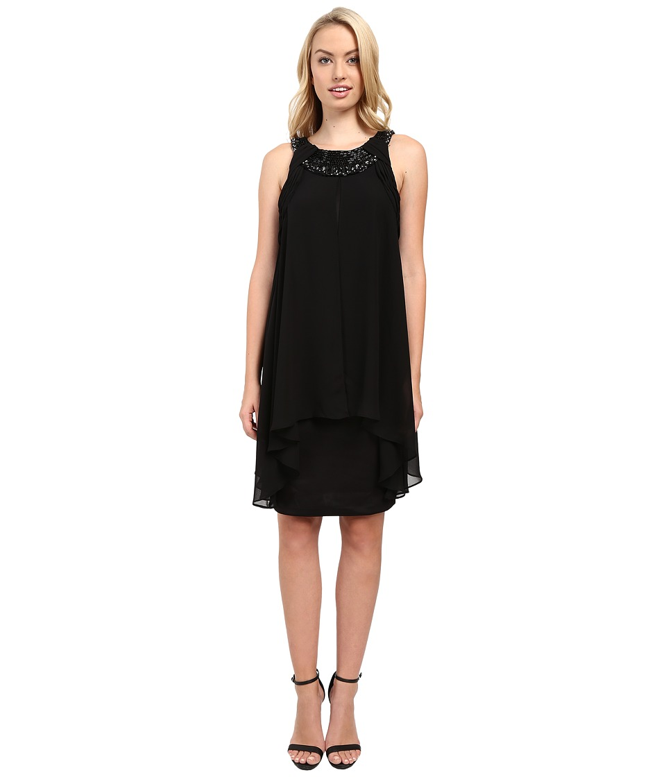 Sangria - Embellished Neckline Chiffon Fly Away Sheath (Black) Women's Dress