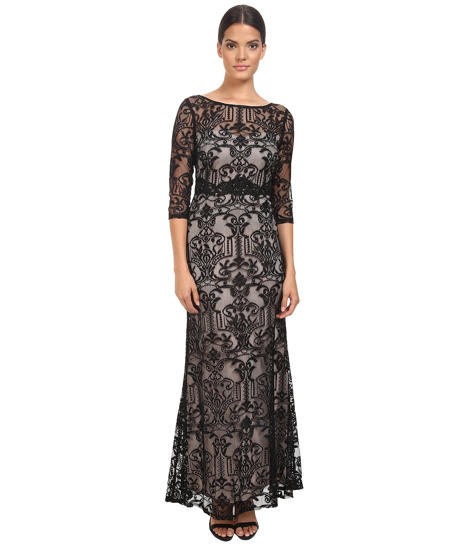 Sangria - 3/4 Sleeve Lace Evening Gown with Beaded Waist Embellishment (Black/Putty) Women's Dress