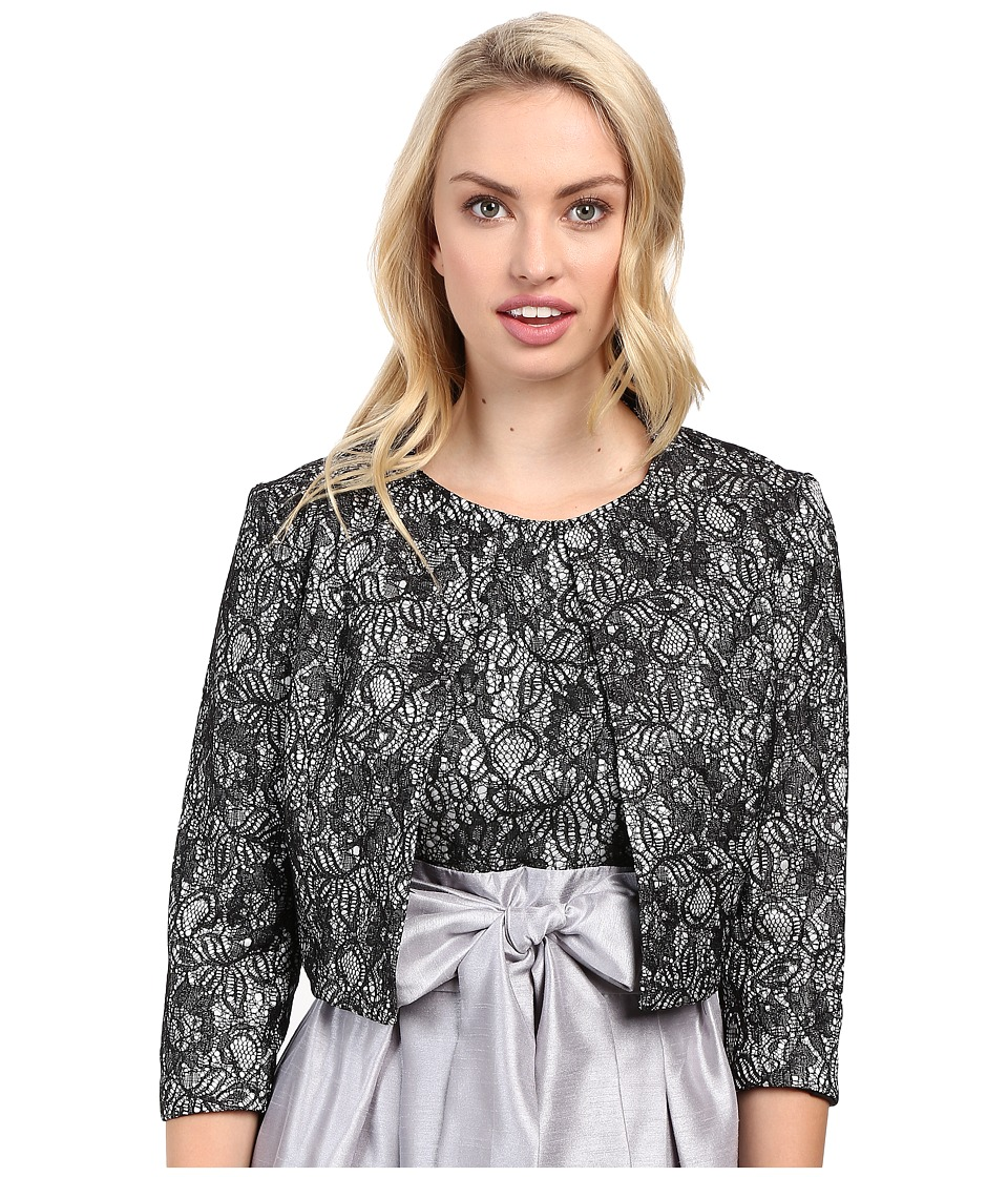 Sangria - 3/4 Lace Bonded Lace Crop Jacket (Black/Sterling) Women's Coat