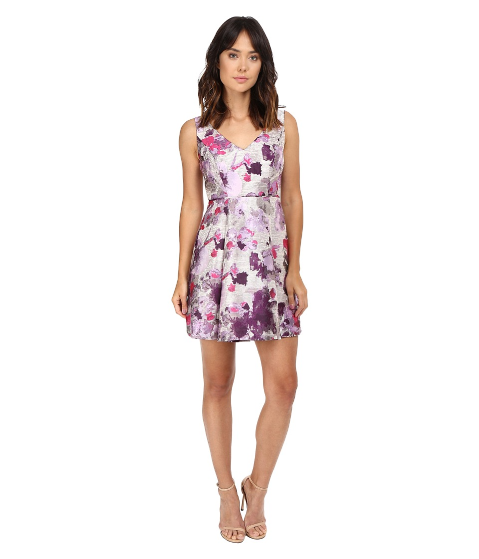 Adrianna Papell - Open Back Jacquard Party Dress (Purple Multi) Women's Dress