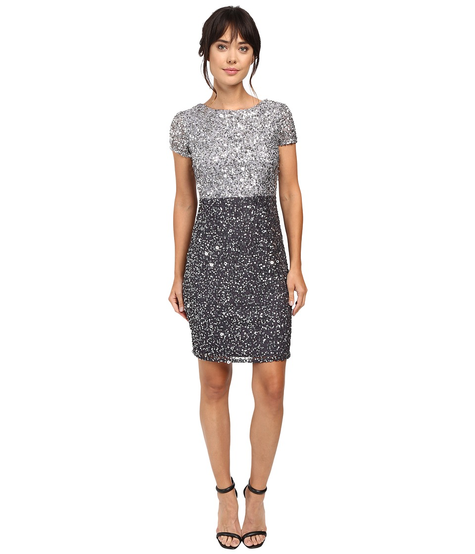 Adrianna Papell - Color Block Beaded Cocktail (Silver/Gunmetal) Women's Dress