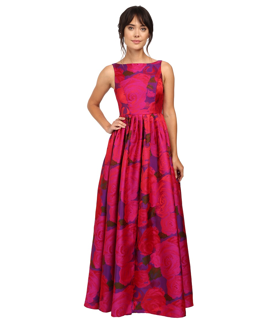 Adrianna Papell - Boat Neck Sleeveless Ball Gown (Magenta) Women's Dress