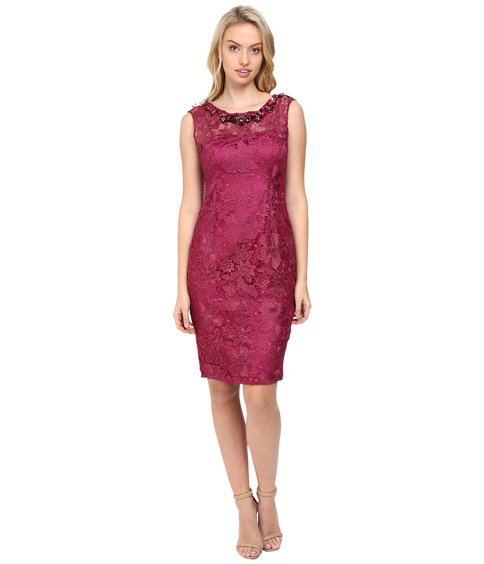 Adrianna Papell Cap Sleeve Sheath Dress with Beads (Ash Rose) Women