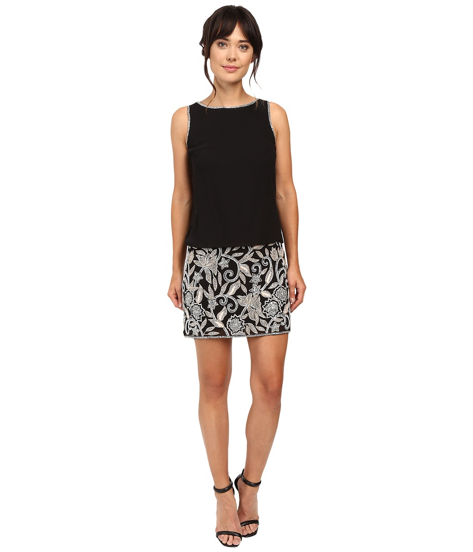 Adrianna Papell Beaded Blouson Cocktail Dress (Black) Women