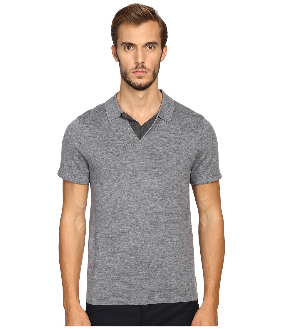 Vince - Wool Silk Jersey Short Sleeve Polo with Tipping (Heather Cinder) Men's Short Sleeve Pullover