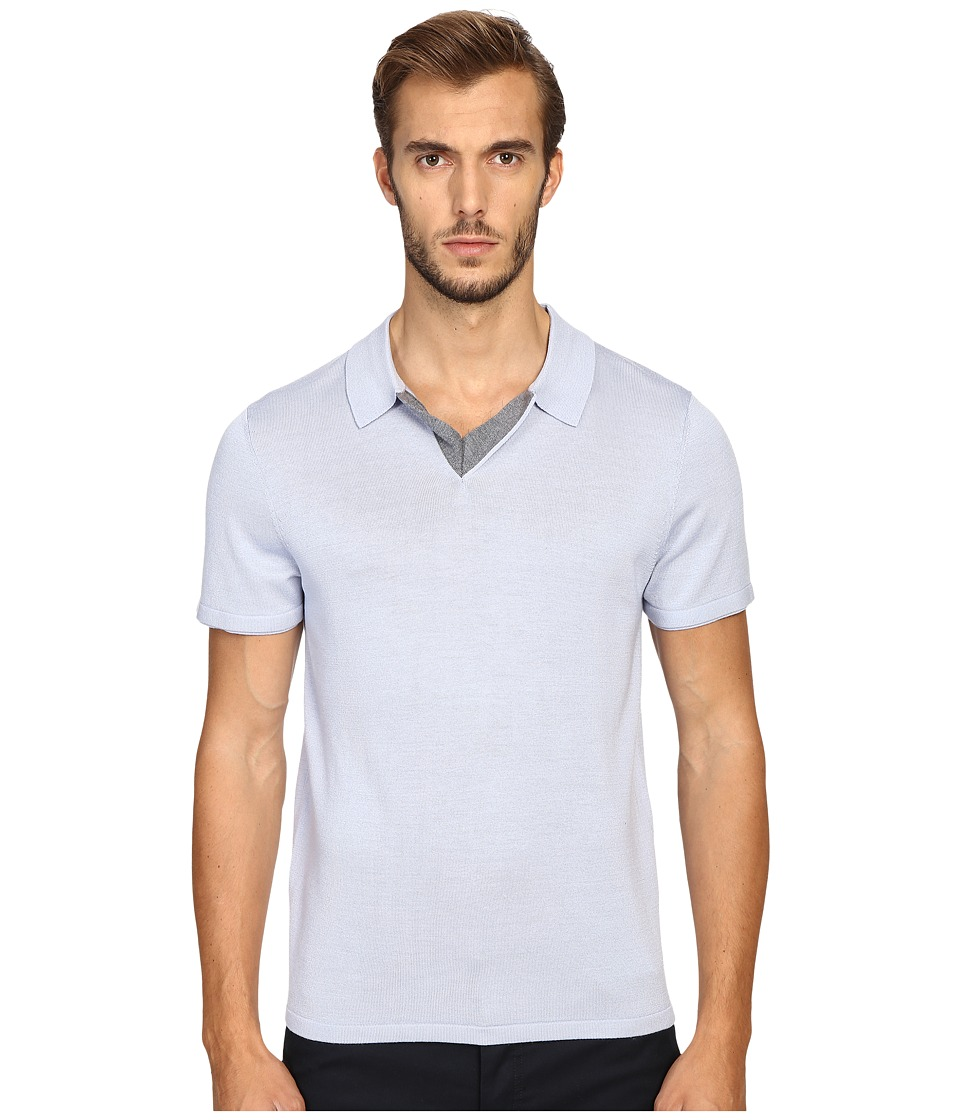 Vince - Wool Silk Jersey Short Sleeve Polo with Tipping (Lucent Blue) Men's Short Sleeve Pullover