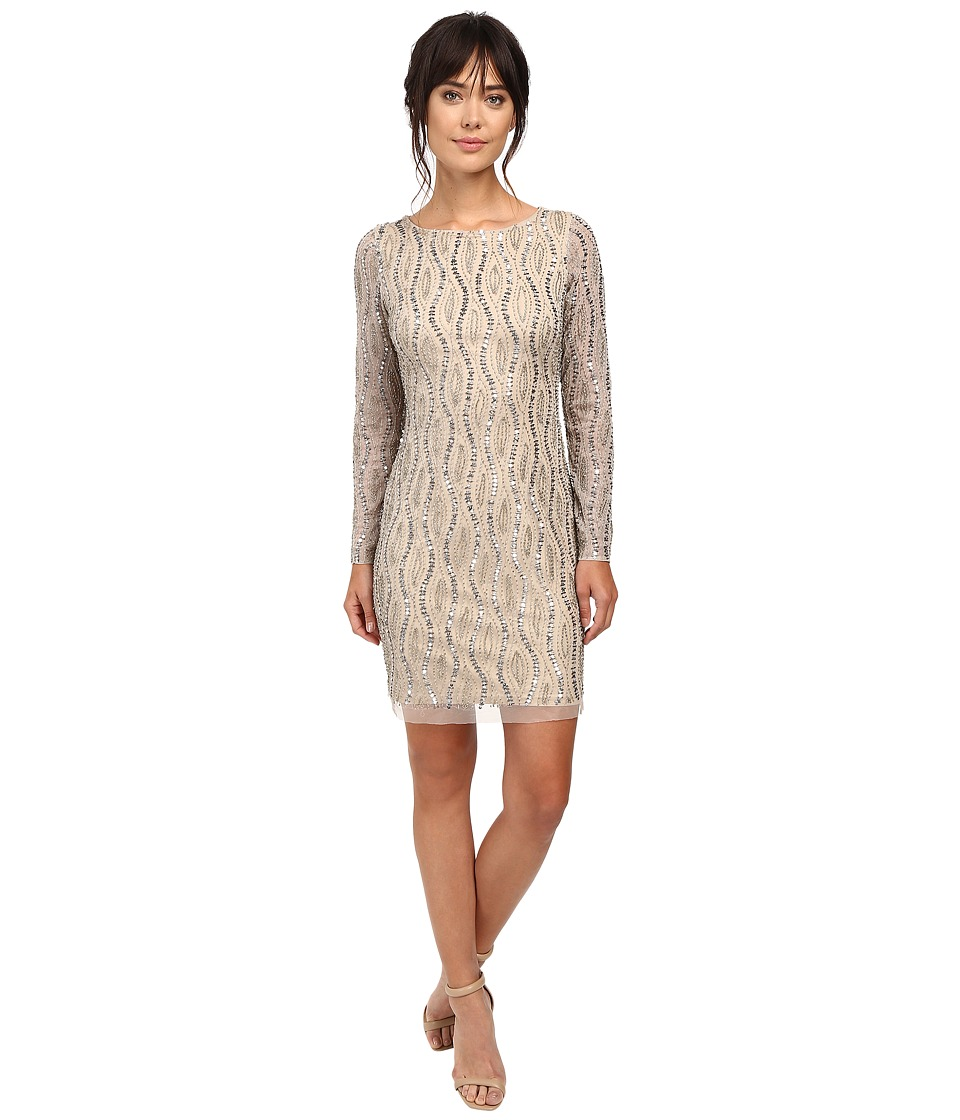 Adrianna Papell Long Sleeve Beaded Cocktail Dress (Silver/Nude) Women