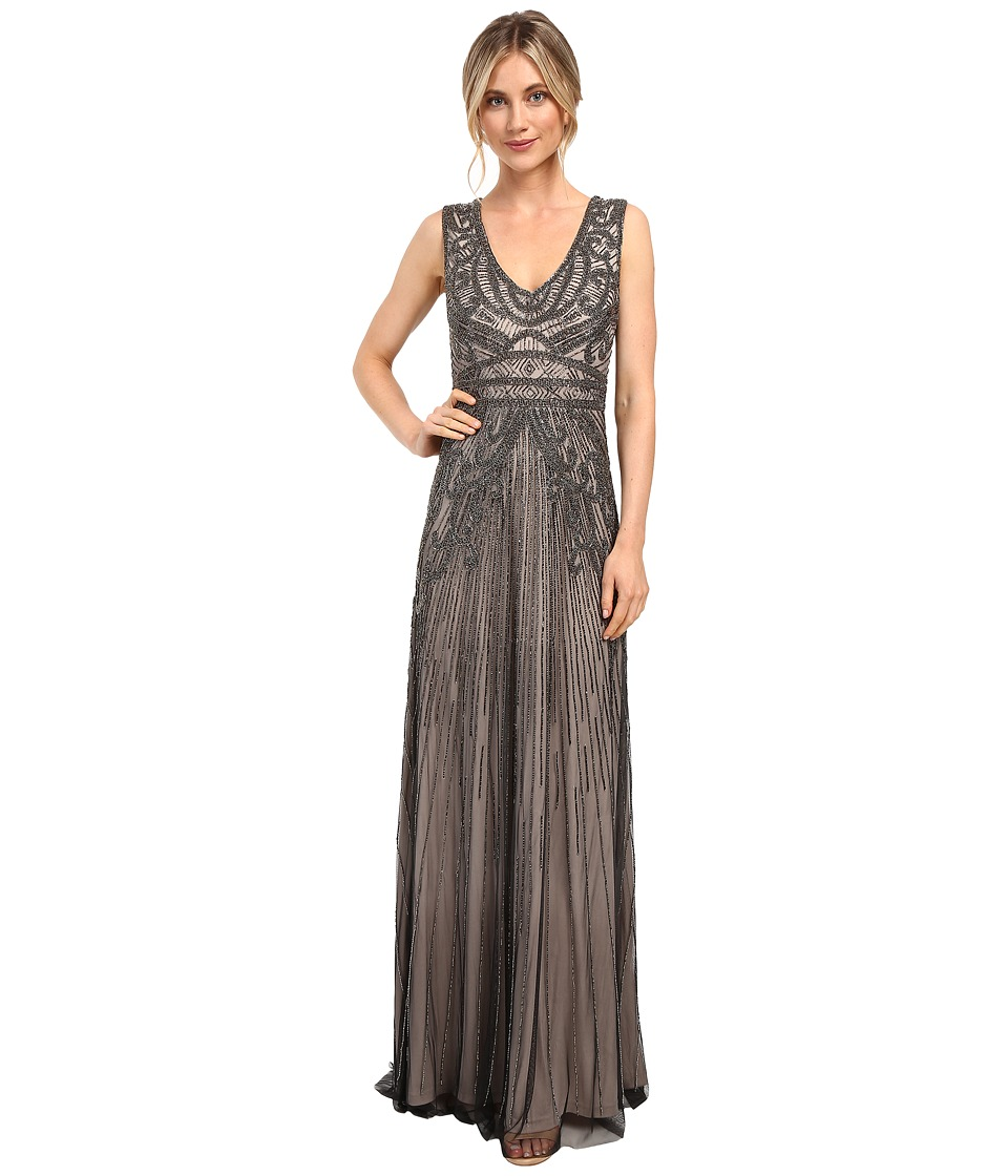 Adrianna Papell - Fully Beaded Sleeveless Gown (Platinum) Women's Dress