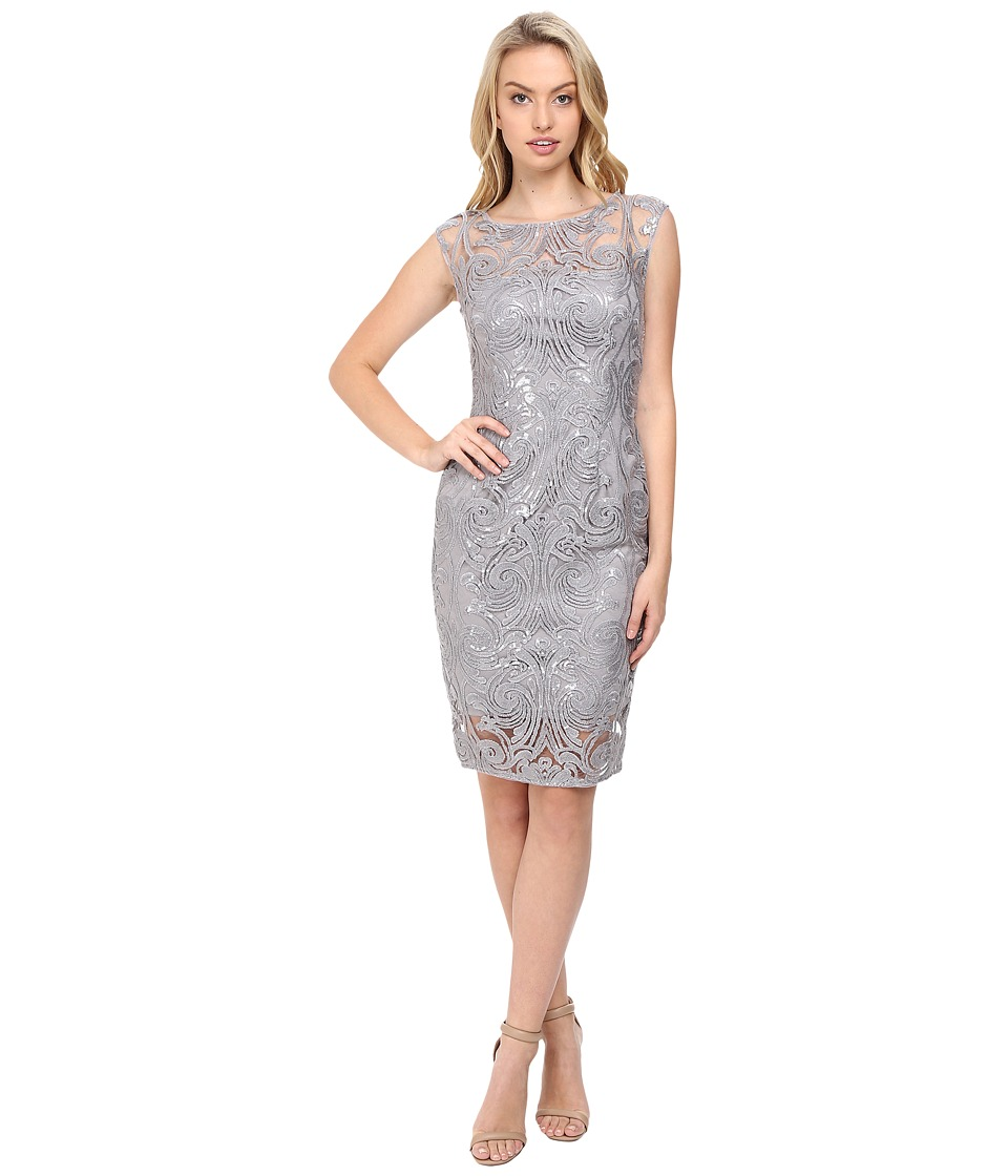 Adrianna Papell Extended Shoulder Sequin Lace Sheath (Silver) Women