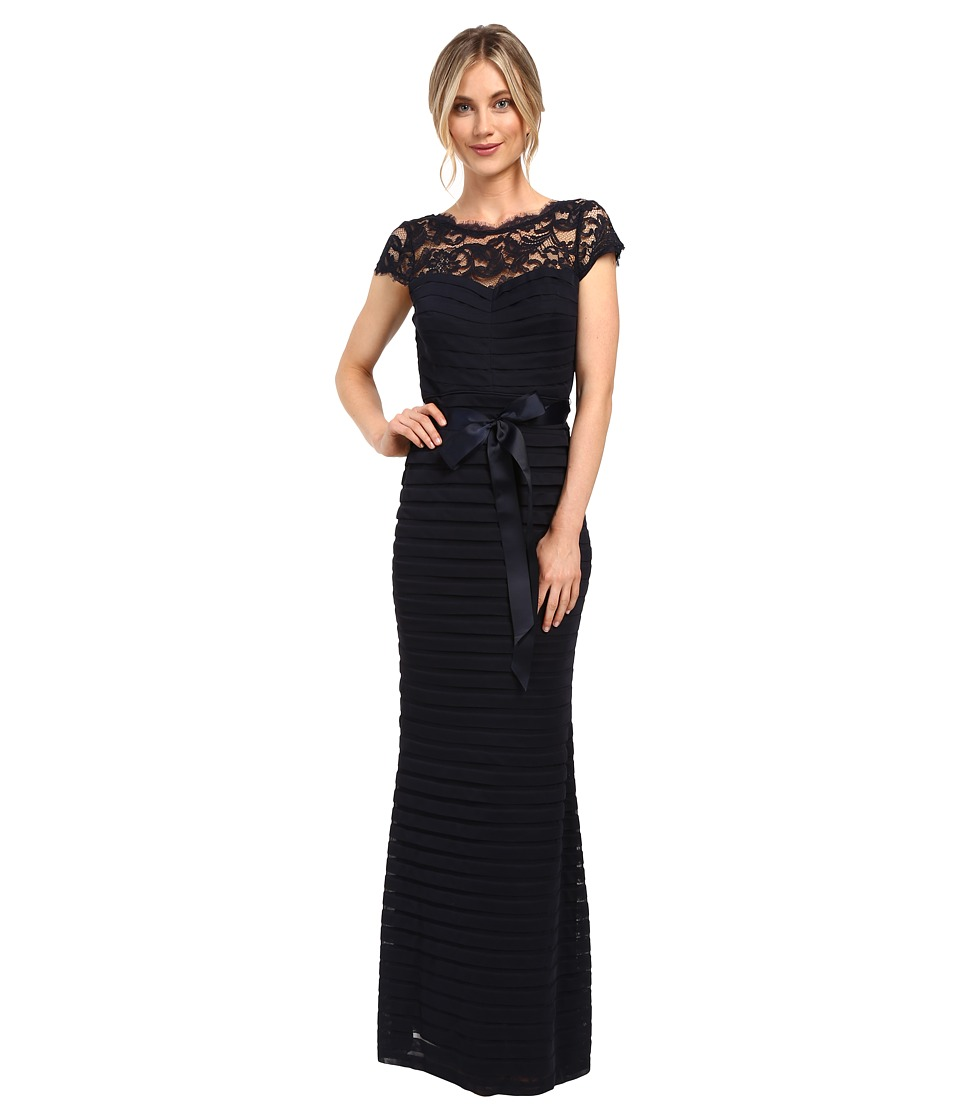 Adrianna Papell - Large Tucked Stretch Tulle Gown (Ink) Women's Dress