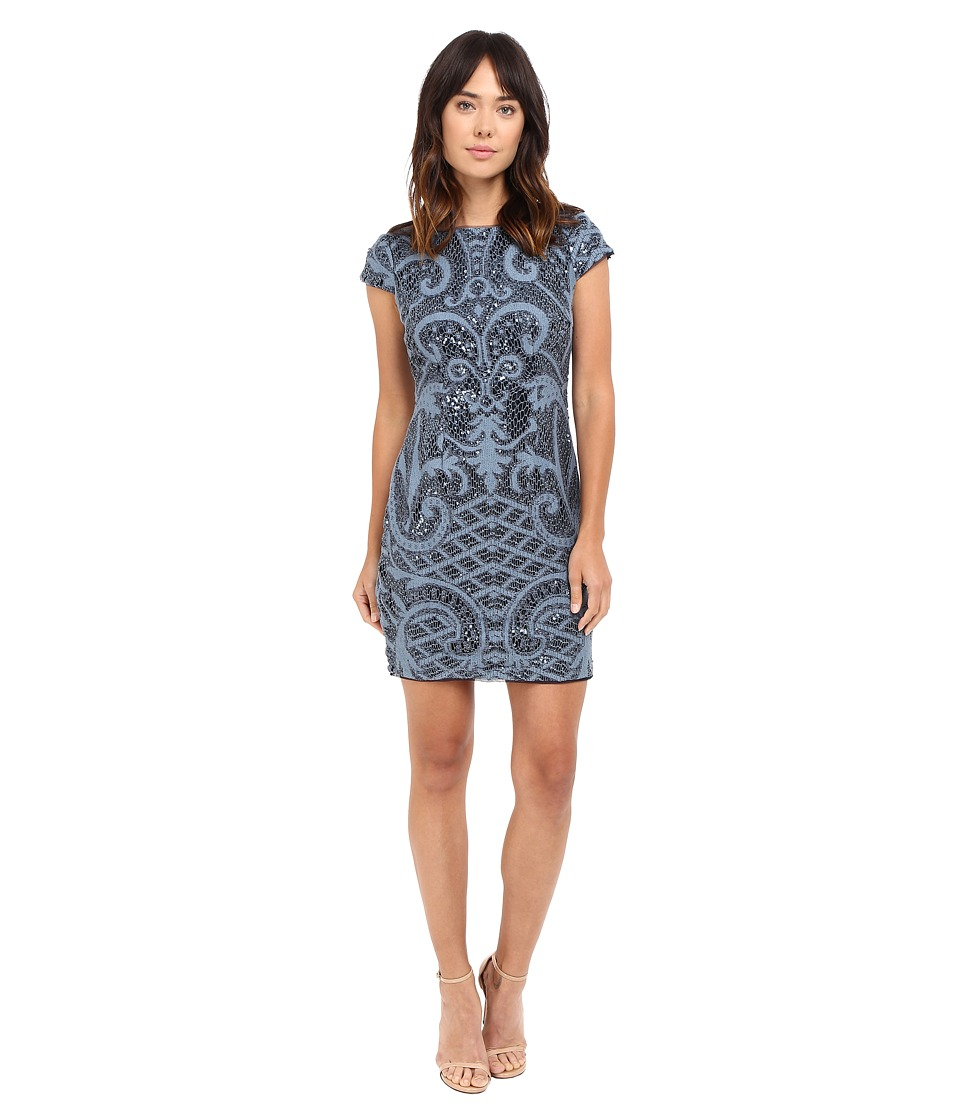Adrianna Papell Lace and Sequin Cap Sleeve Dress (Blue) Women