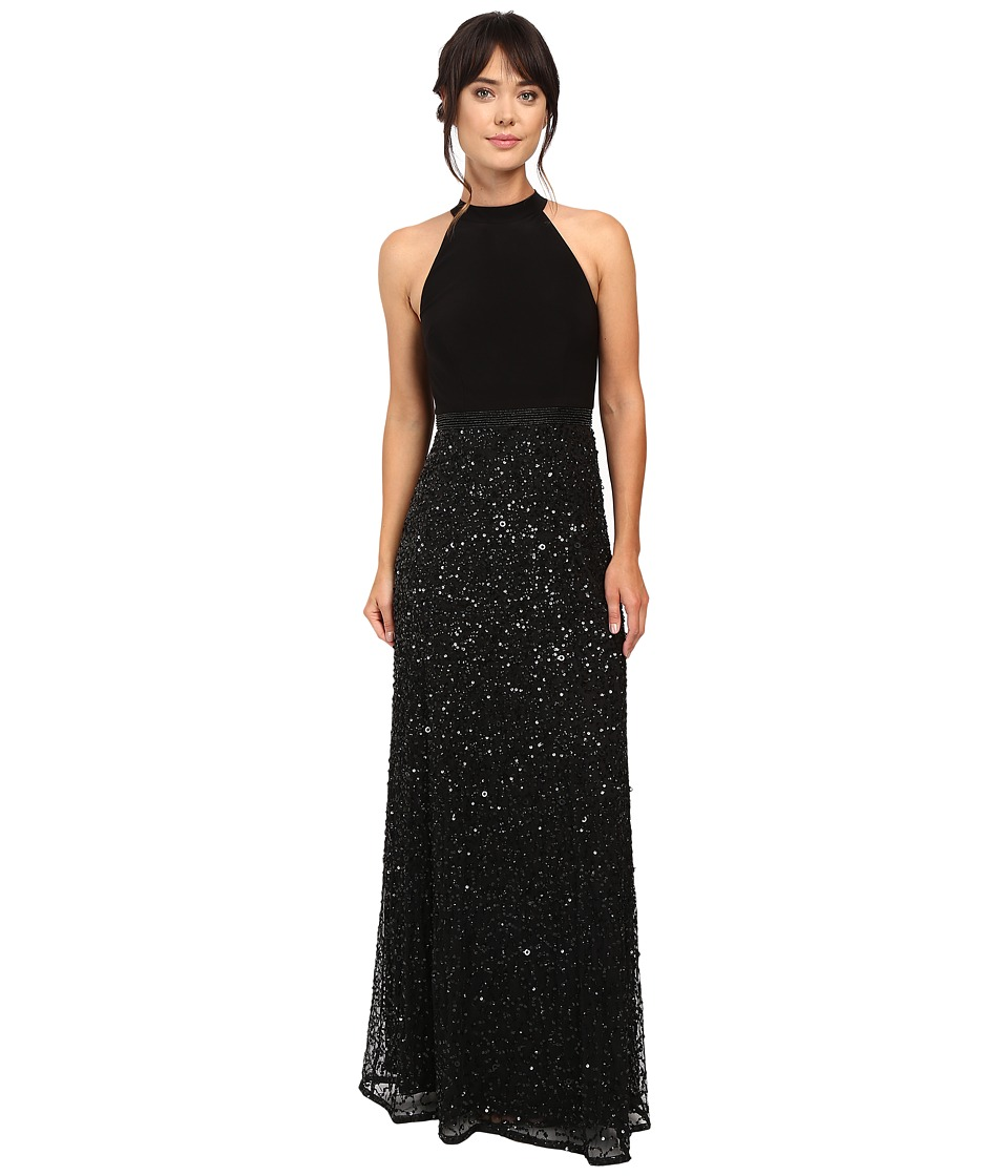 Adrianna Papell - Halter Jersey and Beaded Gown (Black) Women's Dress