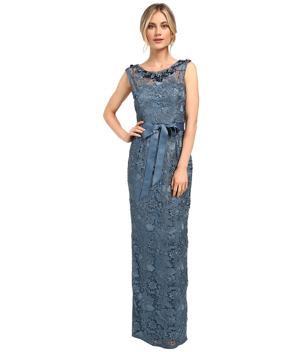 Adrianna Papell - Guipure Lace Column Gown (Thundercloud) Women's Dress