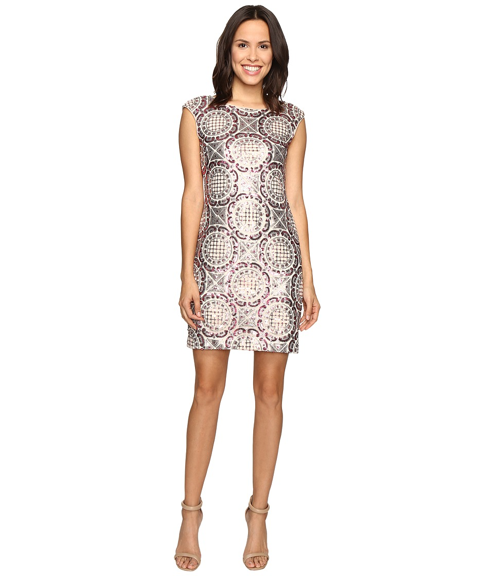 rsvp - Pleasant Pattern Dress w/ Sequin (Pink Multi) Women's Dress