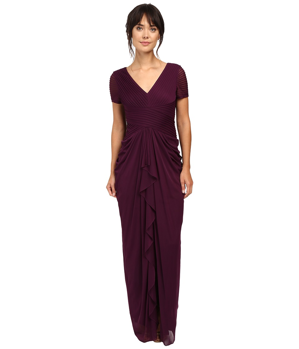 Adrianna Papell - Pin Tucked and Draped Gown (Cassis) Women's Dress