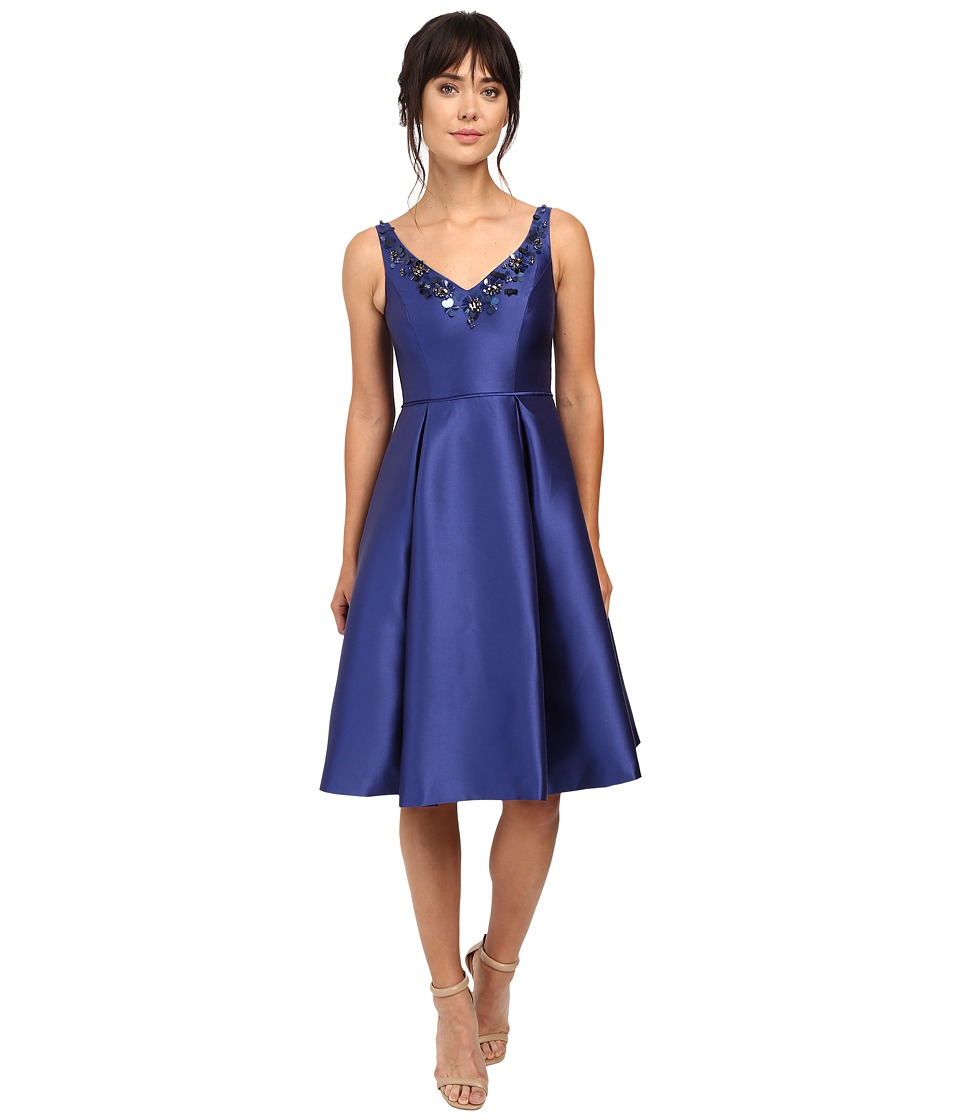 Adrianna Papell - V-Neck Beaded Mikado Dress (Deep Blue) Women's Dress