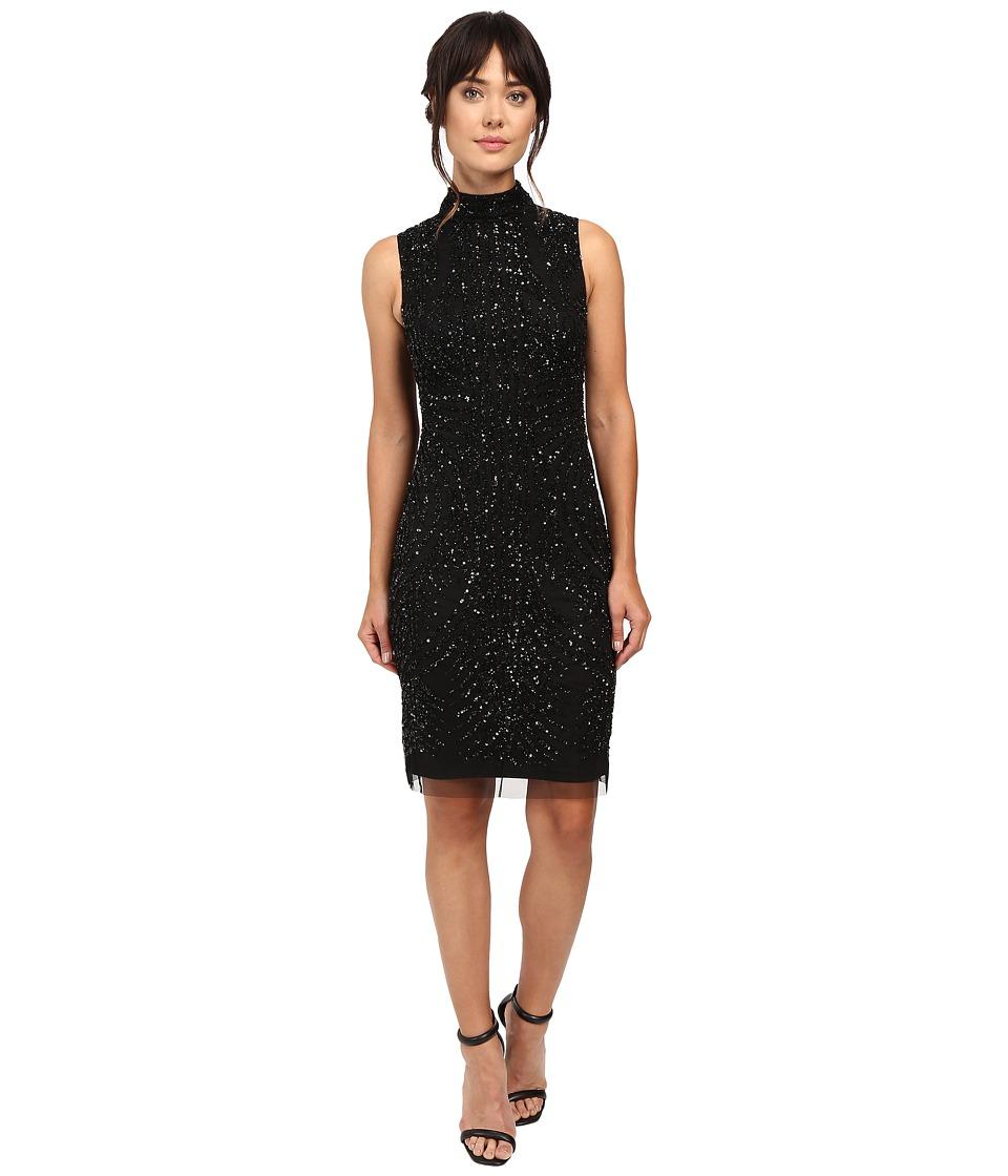 Adrianna Papell - Mock Turtleneck Beaded Sheath (Black) Women's Dress