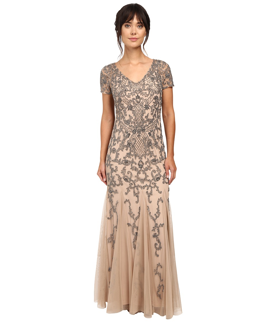 Adrianna Papell - Short Sleeve Beaded Gown (Taupe/Pink) Women's Dress