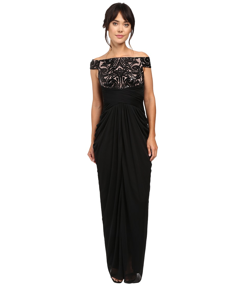 Adrianna Papell - Off Shoulder Sequin and Stretch Tulle Gown (Black/Rose Gold) Women's Dress