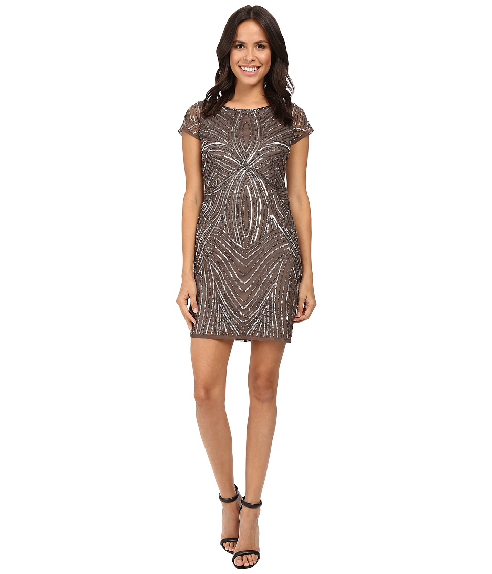 Adrianna Papell - Short Sleeve Fully Beaded Sheath (Lead) Women's Dress