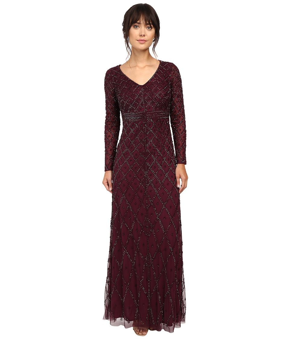 Adrianna Papell - Long Sleeve V-Neck Beaded Gown (Cassis) Women's Dress