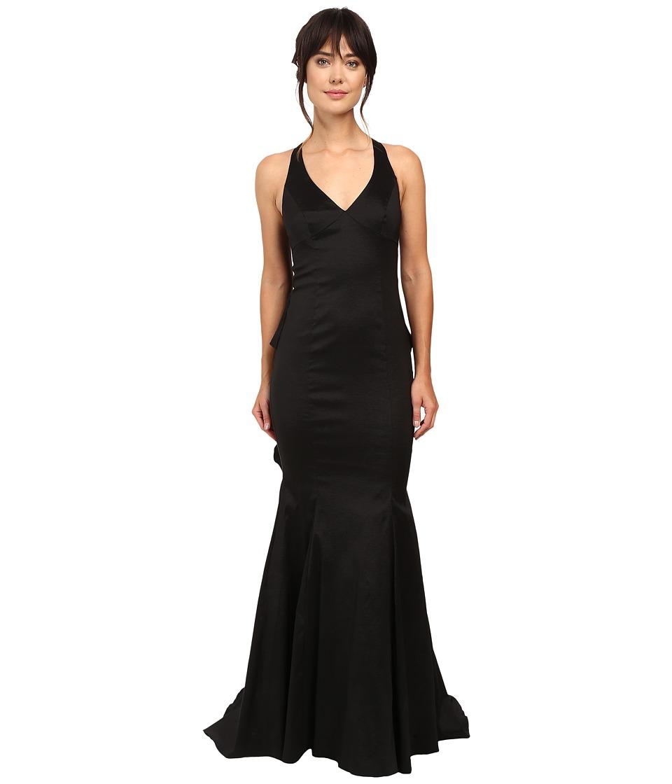 Adrianna Papell - Stretch Taffeta Back Ruffle Gown (Black) Women's Dress