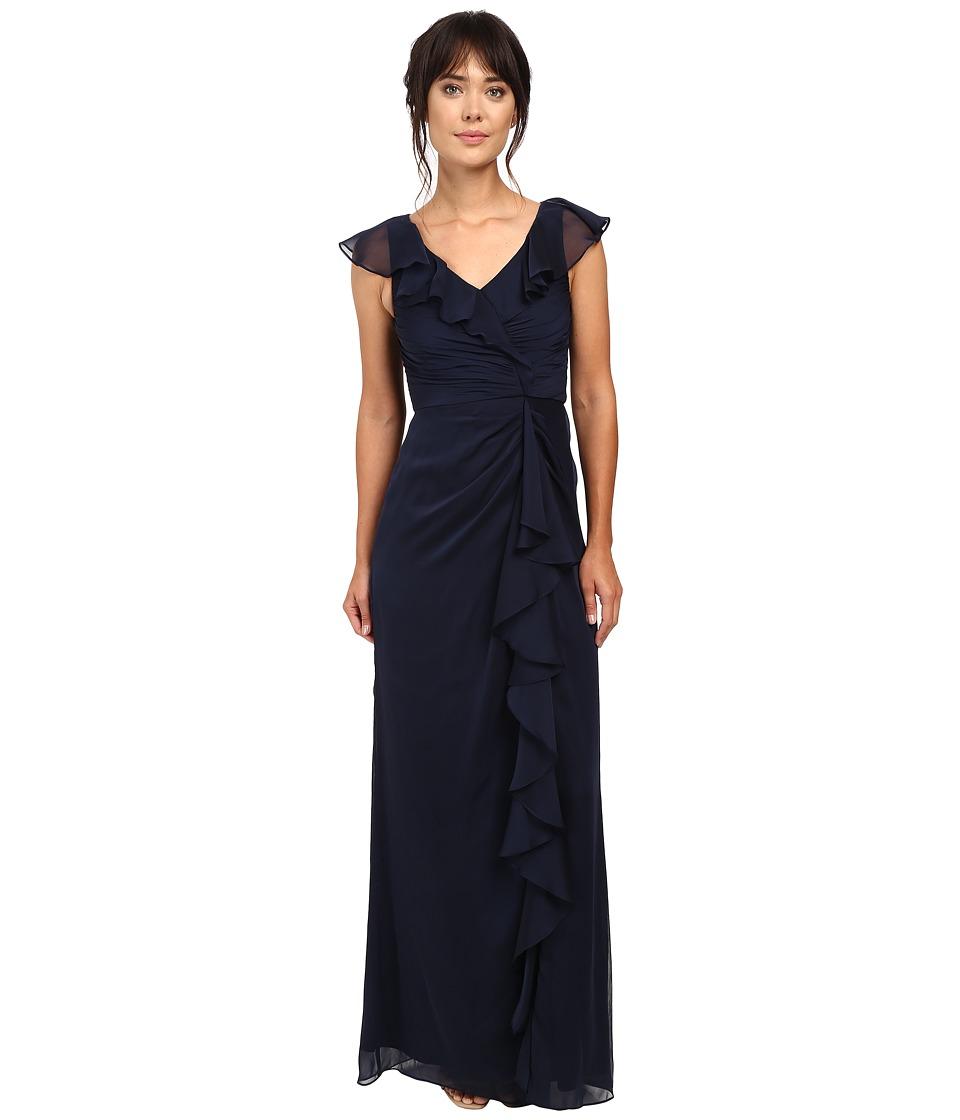 Adrianna Papell Ruffle Iri Chiffon Gown Midnight Dress