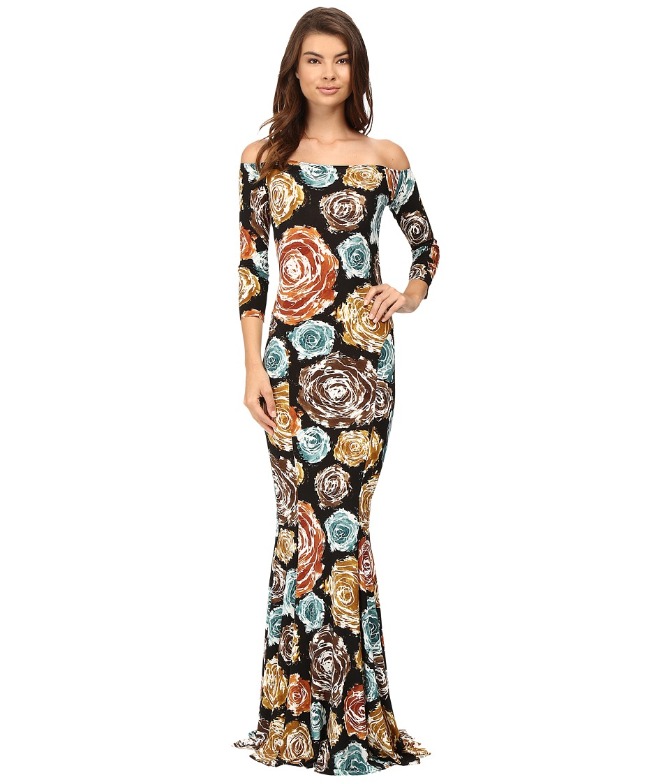 KAMALIKULTURE by Norma Kamali - Off Shoulder Fishtail Gown (Painter Roses) Women's Dress