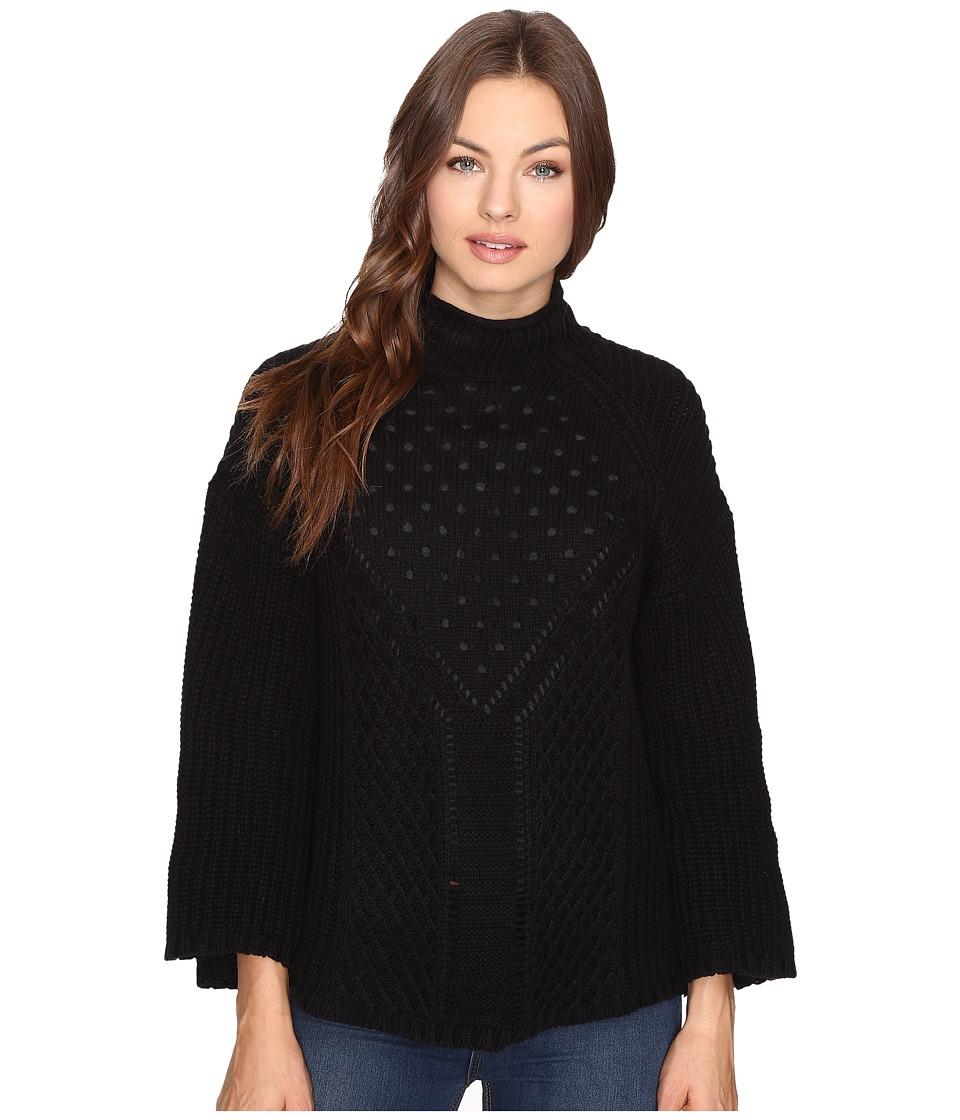 Brigitte Bailey - Alexandrite Bell Sleeve Crew Neck (Black) Women's Clothing
