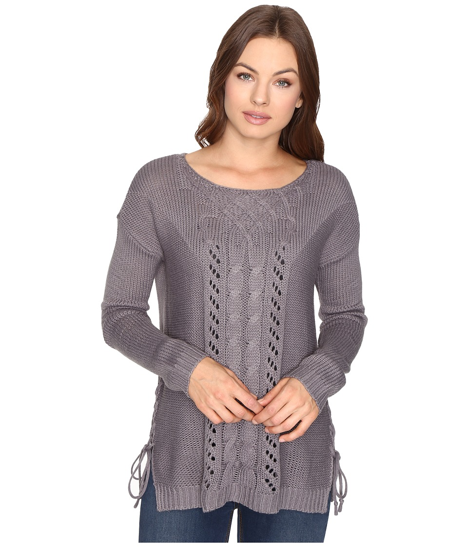 Brigitte Bailey - Garnet Pullover w/ Mixed Cable Lace (Dark Heather) Women's Clothing