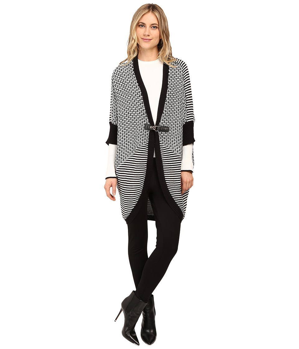 Brigitte Bailey - Swiss Cut Cocoon Buckle Cardigan (Black/White) Women's Sweater
