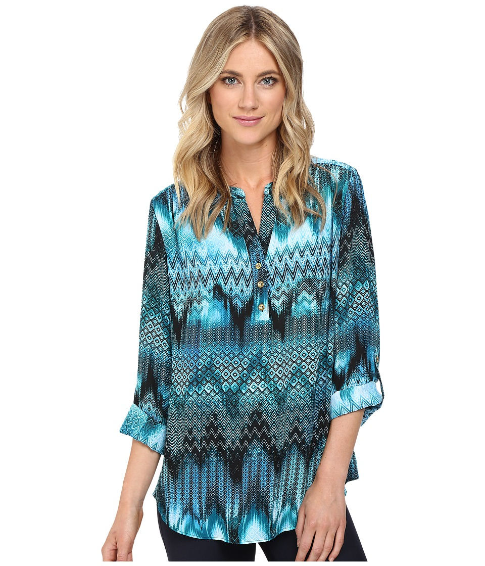Christin Michaels - Aniseed Print Top (Teal/Black/White) Women's Clothing