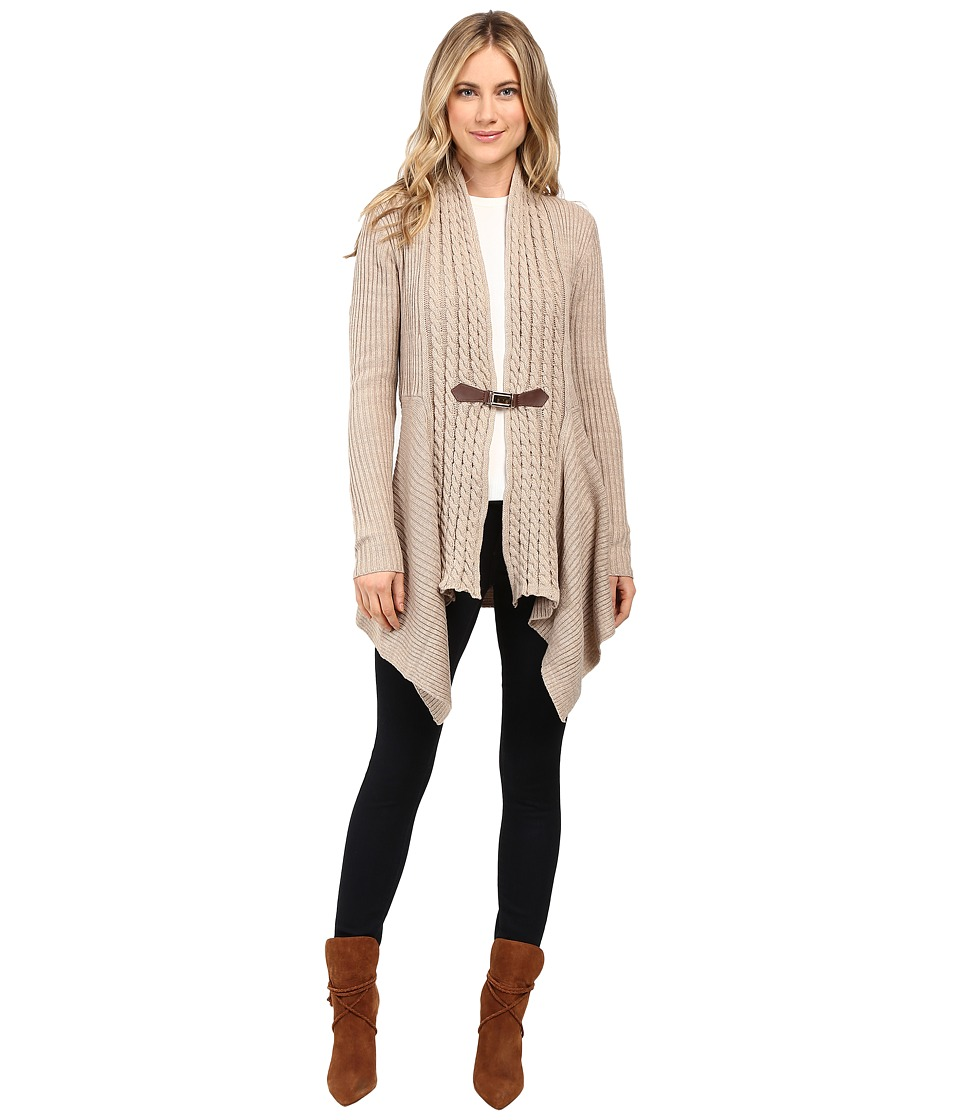 Christin Michaels - Brilliant Cut Buckle Cardigan (Mocha Heather) Women's Sweater