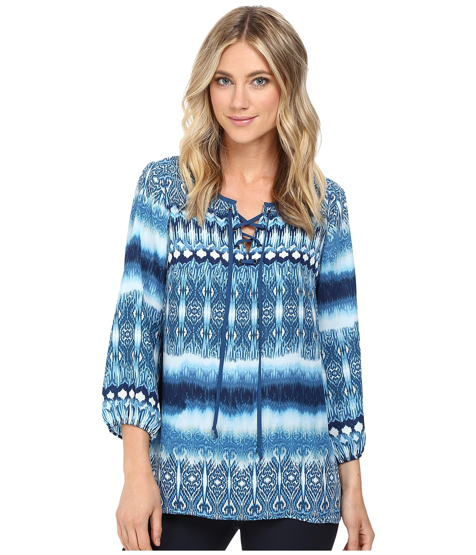 Christin Michaels - Almond Print Top (Dusty Blue/Navy) Women's Clothing
