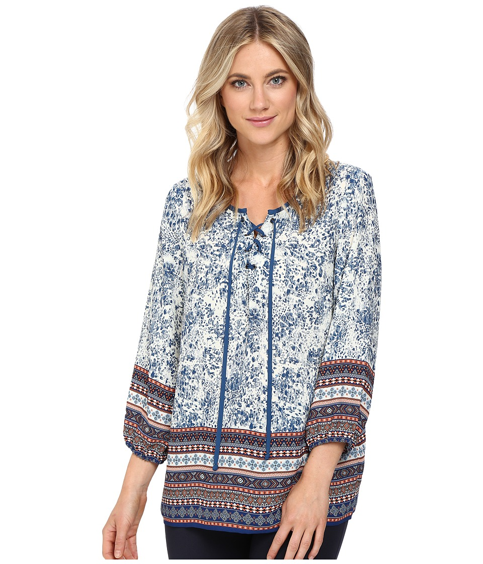 Christin Michaels - Almond Print Top (Cream/Navy) Women's Clothing