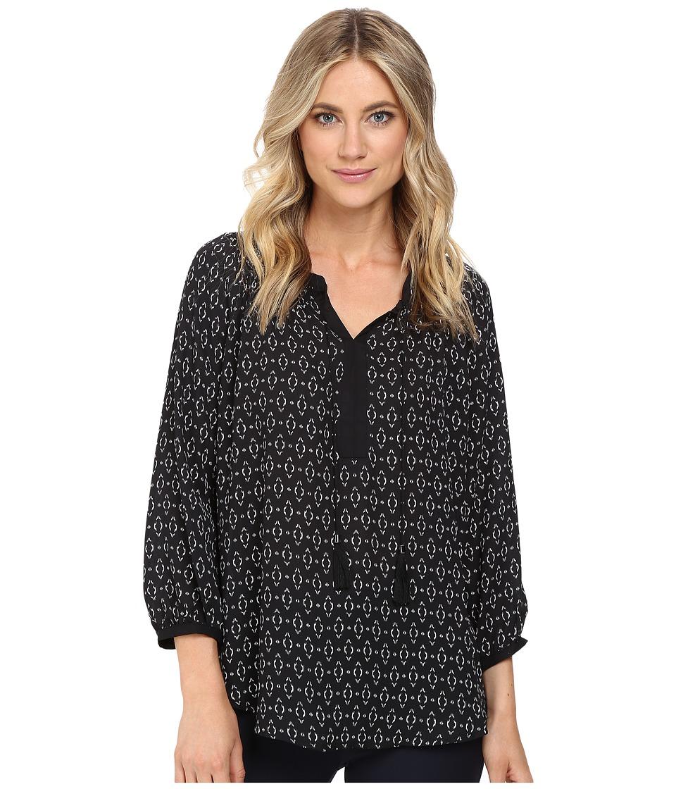 Christin Michaels - Apricot Print Top (Black/White) Women's Clothing