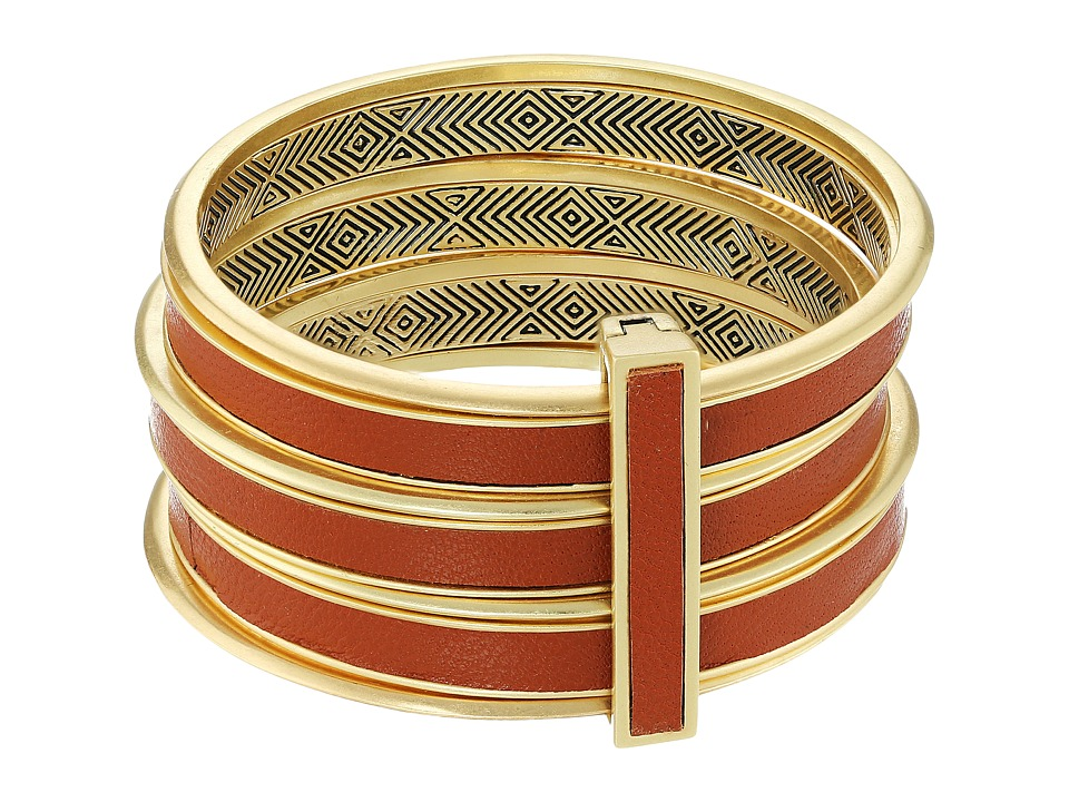 House of Harlow 1960 - The Titaness Leather Bangle (Gold) Bracelet