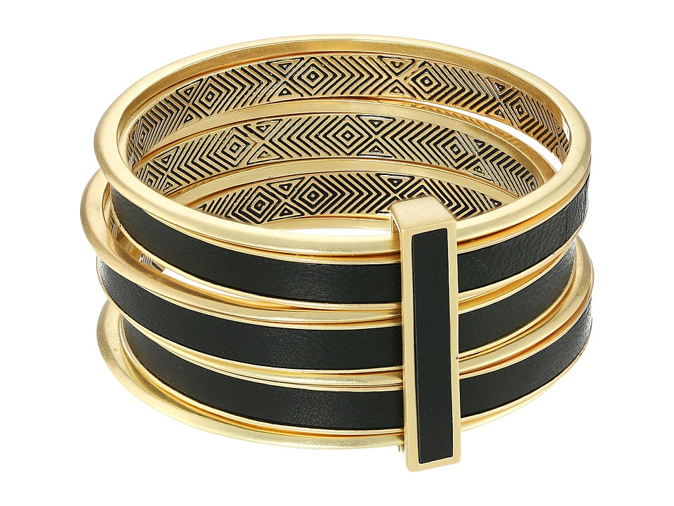 House of Harlow 1960 - The Titaness Leather Bangle (Black) Bracelet