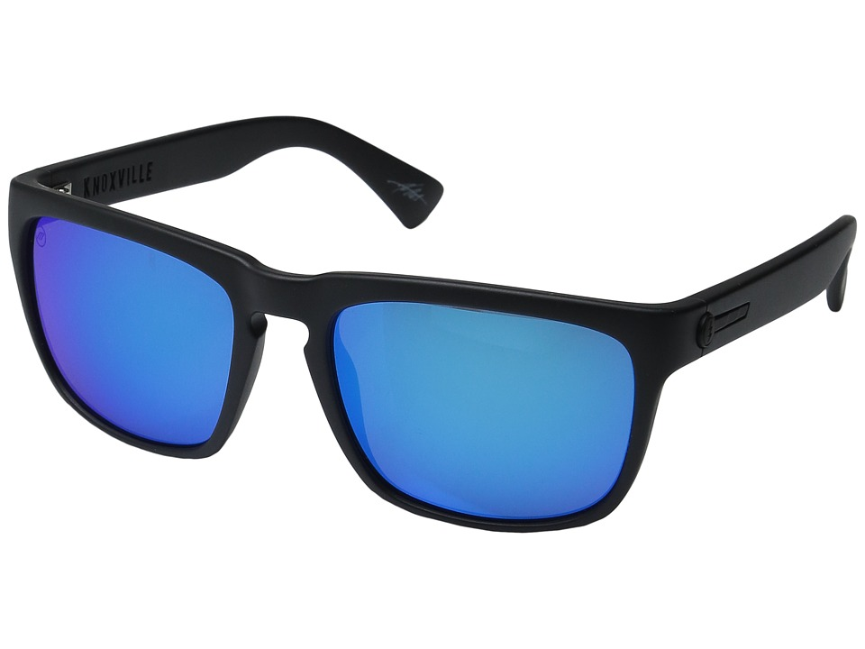 Electric Eyewear - Knoxville (Matte Black/Optical Health Through Melanin Grey/Blue Chrome) Fashion Sunglasses