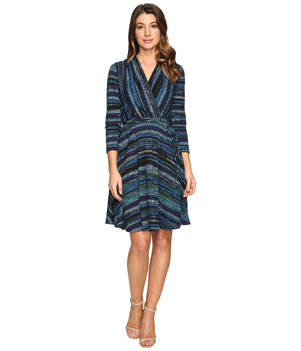 Christin Michaels - Riddle Wrap Dress (Black/Turquoise/Ivory) Women's Dress