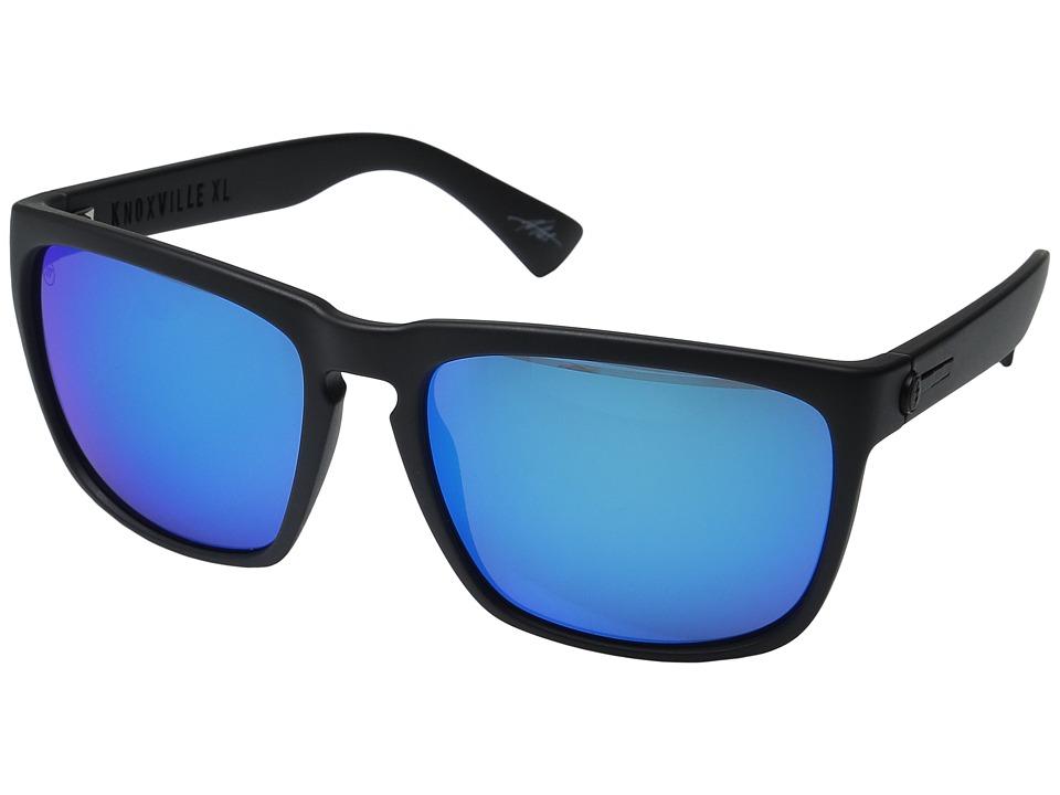 Electric Eyewear - Knoxville XL (Matte Black/Optical Health Through Melanin Grey/Blue Chrome) Fashion Sunglasses