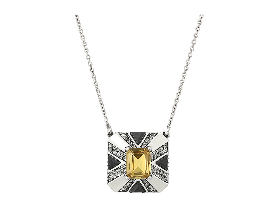 House of Harlow 1960 - Art Deco Pendant Necklace (Silver) Necklace