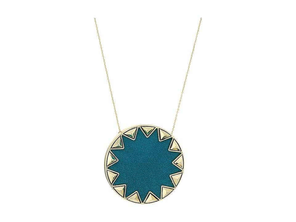 House of Harlow 1960 - Sunburst Pyramid Pendant Necklace (Dark Teal) Necklace