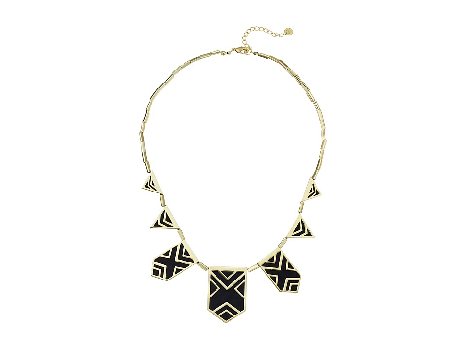 House of Harlow 1960 - Classic Caged Station Necklace (Black) Necklace