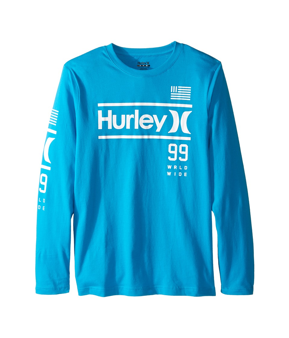 Hurley Kids - Pride Only Long Sleeve Tee (Big Kids) (Blue Lagoon) Boy's T Shirt